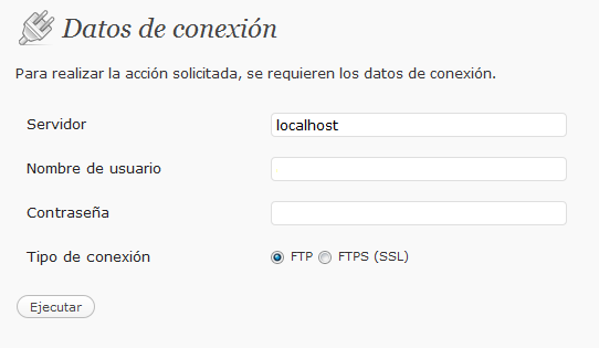 Datos de conexion