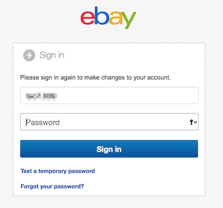 iniciar sesion en eBay