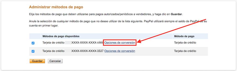 opciones de conversion paypal