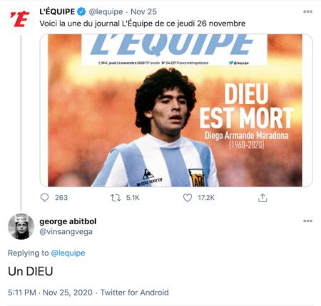 Dios está muerto - Maradona - Revista L equipe Twitter 2