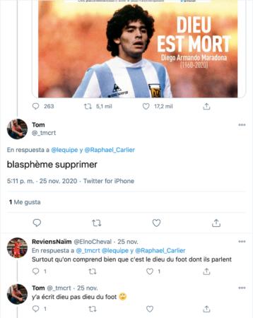 Dios está muerto - Maradona - Revista L equipe Twitter 3