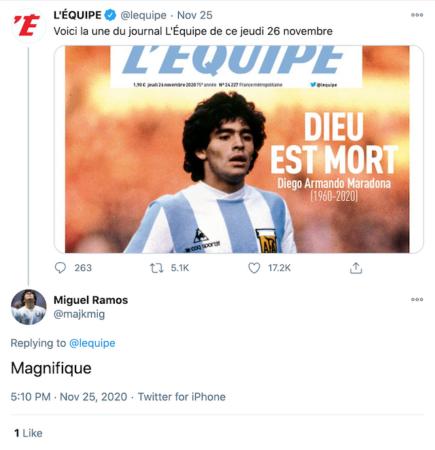 Dios está muerto - Maradona - Revista L equipe Twitter