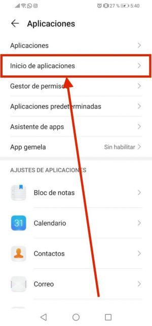 Inicio de aplicaciones en celulares Huawei