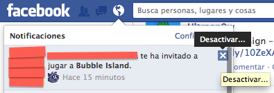 Bloquear invitaciones juegos facebook